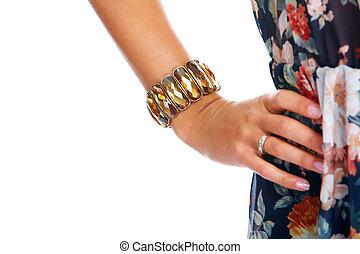 mujer hermosa, bracelet., mano