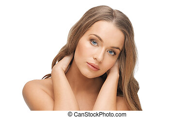 mujer hermosa, cara, con, largo, pelo rubio