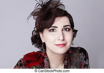 mujer hermosa, cara, primer plano, -, moda, retrato, estilo retro