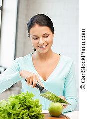mujer hermosa, cocina