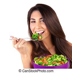 mujer hermosa, comida, ensalada