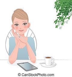 mujer hermosa, computadora, tableta, café