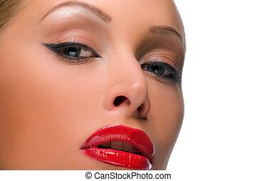 mujer hermosa, con, brillante rojo, labios