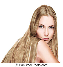 mujer hermosa, con, derecho, largo, pelo rubio