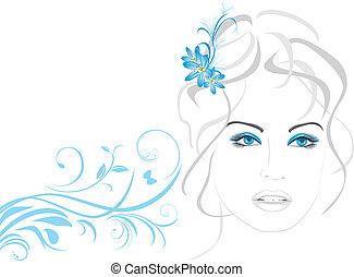 mujer hermosa, con, flores