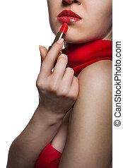 mujer hermosa, con, labios rojos, y, lápiz labial, aislado,...
