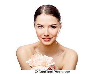 mujer hermosa, con, limpio, fresco, piel