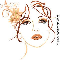 mujer hermosa, con, lirios, en, pelo