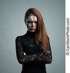 mujer hermosa, con, maquillaje, esqueleto
