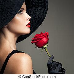 mujer hermosa, con, rojo, rose., retro, moda, image.