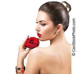 mujer hermosa, con, rosa roja, flor