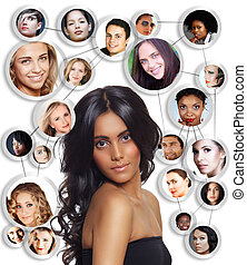 mujer hermosa, con, social, network.