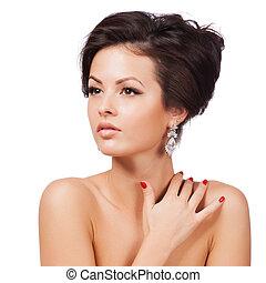 mujer hermosa, con, tarde, make-up., joyas, y, beauty., moda, foto