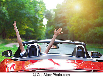 mujer hermosa, conducción, coche, joven, deportes, rubio