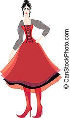 mujer hermosa, corsé, multilayer, soplado, falda