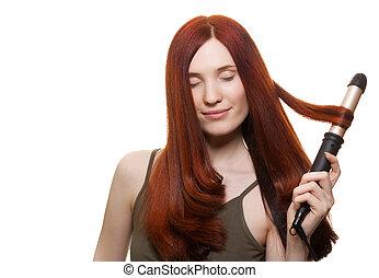 mujer hermosa, curling, aislado, pelo largo