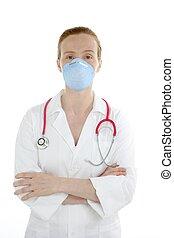 mujer hermosa, doctor, aislado, blanco, enfermera
