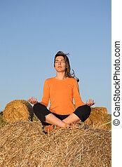 mujer hermosa, elaboración, yoga