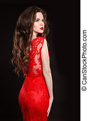 mujer hermosa, elegante, vestido, aislado, makeup., pelo, fondo., ondulado, negro, largo, moda, style., rojo