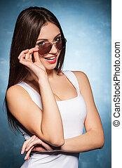 mujer hermosa, ella, ajuste, el mirar joven, cámara, ...