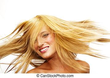 mujer hermosa, ella, pelo, rubio, sacudida