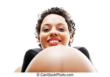 mujer hermosa, embarazada