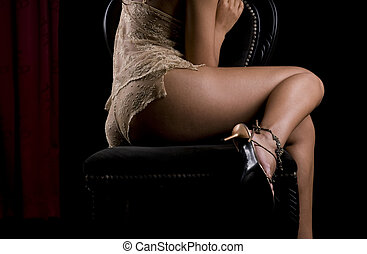 mujer hermosa, en, lenceria