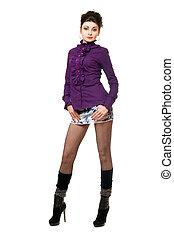 mujer hermosa, en, un, falda mahón