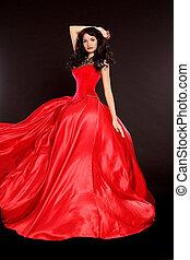 mujer hermosa, en, vestido rojo
