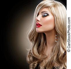 mujer hermosa, encima, maquillaje, negro, rubio, feriado