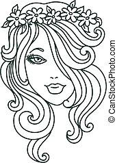 mujer hermosa, flor, lineal, ilustración