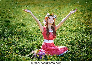 mujer hermosa, goza, un nuevo día, en, el, primavera