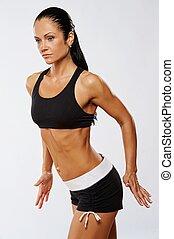 mujer hermosa, hacer, condición física, exercise.