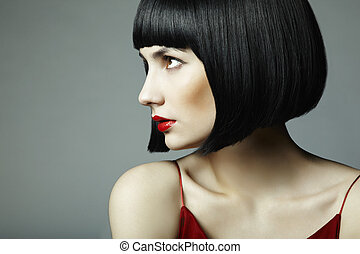 mujer hermosa, haired oscuridad, joven, moda, retrato