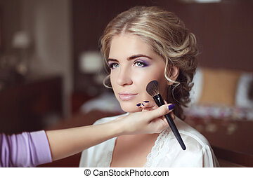 mujer hermosa, hairstyle., maquillaje, joven, day., novia, ...