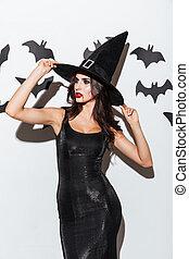 mujer hermosa, halloween, joven, bruja, disfraz, sombrero...