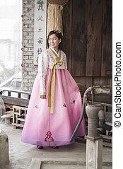 mujer hermosa, hanbok, coreano, vestido, asiático