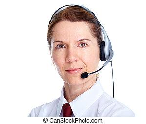 mujer hermosa, headset., empresa / negocio
