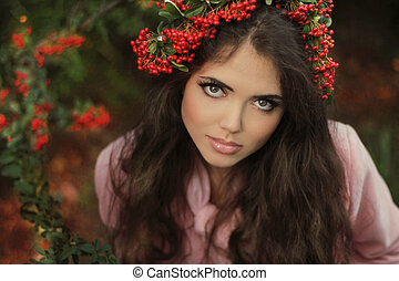 mujer hermosa, joven, chaplet., otoño, morena, portrait.,...
