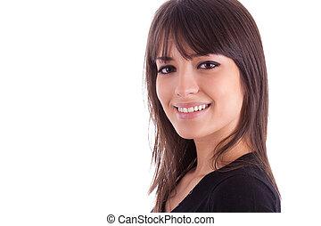 mujer hermosa, joven, encima de cierre, retrato, caucásico