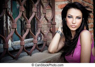 mujer hermosa, joven, uno, elegante, sexy