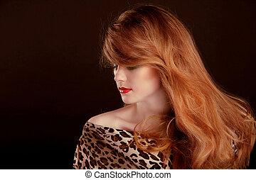 mujer hermosa, largo, fondo negro, hair., retrato, rojo