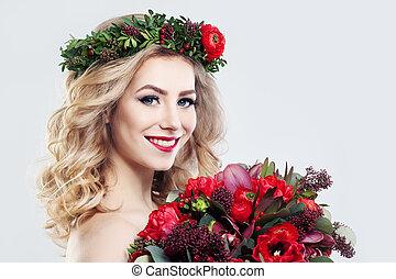 mujer hermosa, modelo, con, flores, ramo