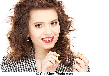 mujer hermosa, nails., ella, .picture, pulido