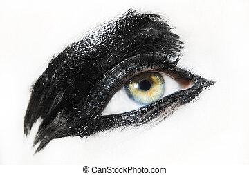 mujer hermosa, ojo
