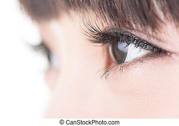 mujer hermosa, ojos, con, largo, pestañas