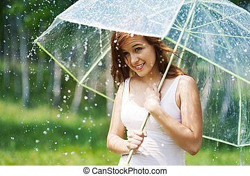 mujer hermosa, paraguas, lluvia, durante