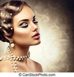 mujer hermosa, pearls., maquillaje, joven, retro, diseñar, retrato