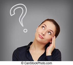 mujer hermosa, pensamiento, pregunta, gris, arriba, mirar, marca