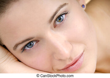 mujer hermosa, piel